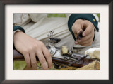 French Soldier Cleaning His Musket at a Reenactment on the Yorktown Battlefield, Virginia Prints