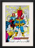 Infinity Gauntlet 5 Group: Thanos, Dr. Strange, Silver Surfer, Adam Warlock and Nebula Crouching Prints by George Perez