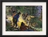 Trappers and Woodsmen Exchanging Stories Around a Campfire Prints