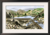 River Operations at Murderer's Bar during the California Gold Rush, c.1850 Prints