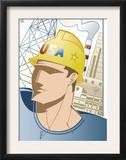 "Man Wearing Hard Hat in Front of a Factory, ""USA"", Grouped Elements Art"
