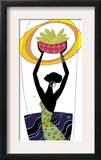 An African Woman Holding a Basket of Corn in the Air Prints