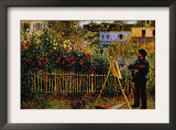 Monet Painting In His Garden In Argenteuil Print by Claude Monet