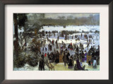 Skating Runners In The Bois De Bologne Print by Pierre-Auguste Renoir