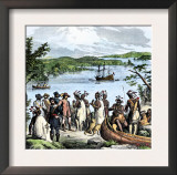 Henry Hudson Meeting with Native Americans Along the Hudson River, c.1609 Posters