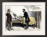Alexander Graham Bell and Associate Using Induction to Locate the Bullet in President Garfield Posters