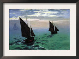 Le Havre - Exit The Fishing Boats From The Port Prints by Claude Monet
