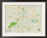 Political Map of Grand Rapids, MI Prints