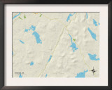 Political Map of Dedham, ME Posters