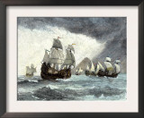 Ships of Ferdinand Magellan Rounding Tierra del Fuego to Circumnavigate the Earth 1519 to 1521 Prints