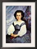 Portrait of Mademoiselle Romaine Lancaux Prints by Pierre-Auguste Renoir