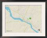 Political Map of Lisbon Falls, ME Prints