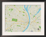 Political Map of Saint Louis, MO Posters