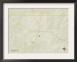Political Map of Tylertown, MS Prints