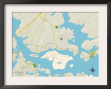 Political Map of Kittery, ME Posters