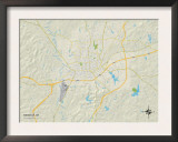 Political Map of Meridian, MS Prints