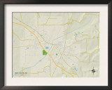 Political Map of New Albany, MS Prints