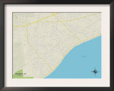 Political Map of Waveland, MS Prints
