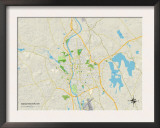 Political Map of Manchester, NH Prints