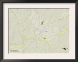 Political Map of Columbia, MS Prints