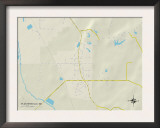 Political Map of Plantersville, MS Posters