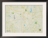 Political Map of Tupelo, MS Prints