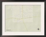 Political Map of Vardaman, MS Prints