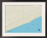 Political Map of Long Beach, MS Prints