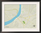 Political Map of Natchez, MS Print