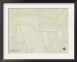Political Map of Monticello, MS Prints