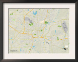Political Map of Jackson, MS Prints