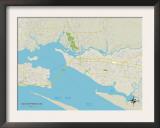 Political Map of Ocean Springs, MS Posters