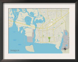 Political Map of Pascagoula, MS Print