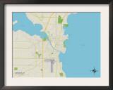 Political Map of Oshkosh, WI Prints