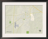 Political Map of Starkville, MS Prints