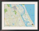 Political Map of New Smyrna Beach, FL Prints