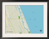Political Map of Flagler Beach, FL Prints
