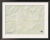 Political Map of Russellville, AL Prints