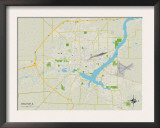 Political Map of Decatur, IL Prints