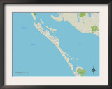 Political Map of Longboat Key, FL Print