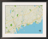 Political Map of Westport, CT Prints