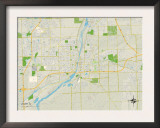 Political Map of Joliet, IL Prints