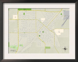 Political Map of Lincoln, IL Art