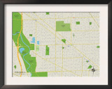Political Map of Park Ridge, IL Prints