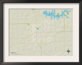 Political Map of Olney, IL Prints