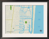 Political Map of Lighthouse Point, FL Prints