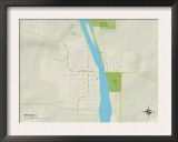 Political Map of Oregon, IL Prints