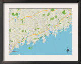 Political Map of Stamford, CT Prints