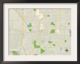 Political Map of Bloomington, IL Prints