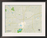 Political Map of Carbondale, IL Poster